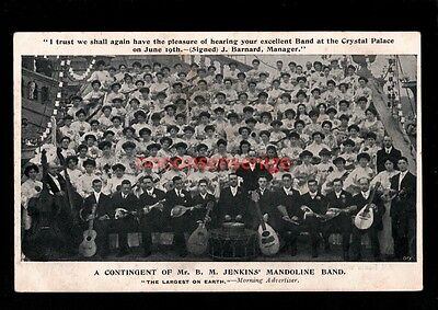London Crystal Palace Largest Mandoline Band In The World Postcard 1907 - Se111