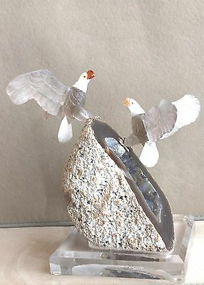 Large Citrine Bald Eagle Pair- Peter Muller 10 1/2""