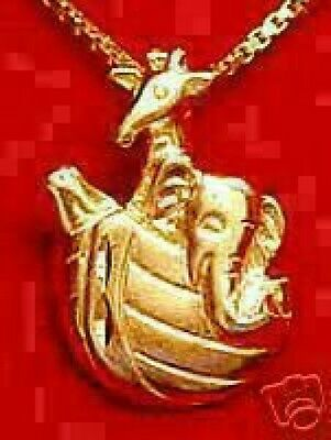 LOOK 0462 Gold Plated Noah Ark boat animal Pendant charm real sterling Silver Je