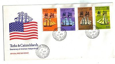 1976 TURKS & CAICOS ISLANDS First Day Cover FDC for Scott 311-314