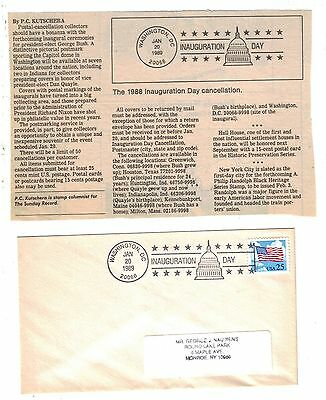 1989 six George Bush Inauguration Day covers with newspaper article