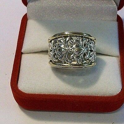 Charles Krypell  925 STERLING SILVER+18K GOLD RING, SZ 6,5,