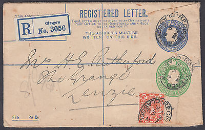 1921 Glasgow Compound Registered Envelope+uprated with 2d orange adhesive:Lenzie