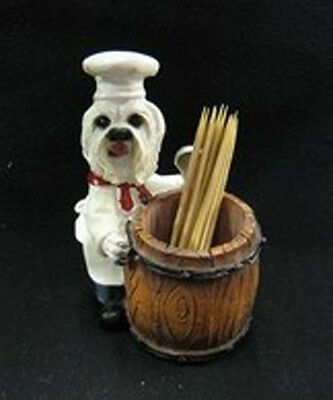 MALTESE CHEF Dog Toothpick Holder Figurine