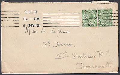 1913 Bath Continuous Machine Cancel 1/2d+1/2d green to Bournemouth