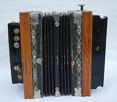 Antique French Kid Accordion 10 Buttons Medoleon Paris 1900