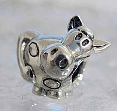 LOOK 5 pcs STERLING SILVER Cow Charm bead jewelry Wholesale