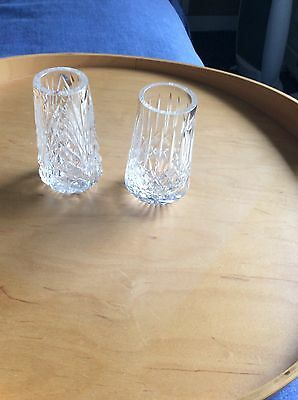 TWO Tyrone Crystal VASES DIFFERENT CUTS ONE Stamped - VGC NO BOX