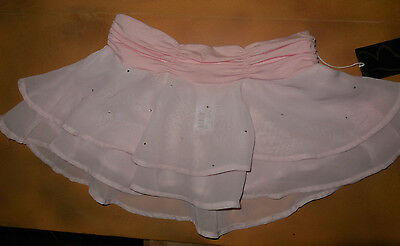 NWT Bloch Dance Pink Two Tier Ruffle Skirt Diamante Girls Med Child 8/10 CR5081