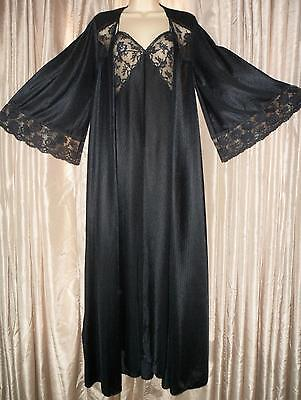 Vintage MISS ELAINE Nightgown ROBE SET Lace Black ENKALURE Nylon Gown S Small