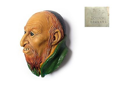 """1964 BOSSONS 5""""  FAGIN HEAD OLIVER TWIST Charles Dickens Wall mask Chalkware"""