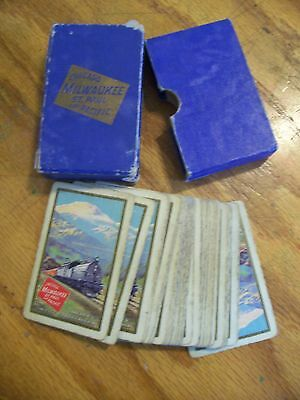 Vintage Chicago Milwaukee St. Paul & Pacific RR railroad Playing Cards in Box