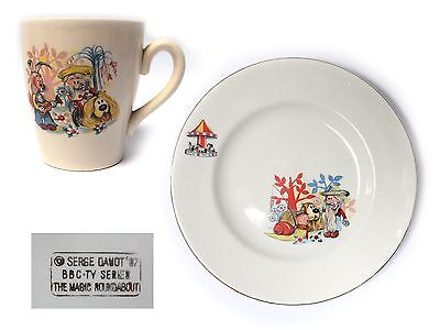 Vintage 1970s  MAGIC ROUNDABOUT CUP & SAUCER DOUGAL BRIAN DYLAN SERGE DANOT