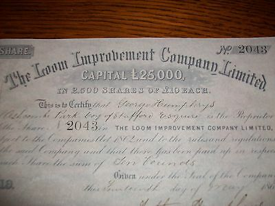 1868, Share Certificate: The Loom Improvement Co Ltd + Ashcombe Park, Stafford.
