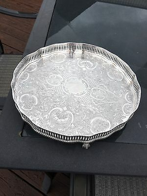 Vintage Reed & Barton Silver Plated On Copper Footed Tray