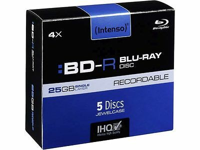 Intenso BD R 25GB 4x Speed 5er Pack Jewelcase Blu Ray Rohlinge für PC Computer