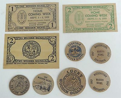 Vintage Wooden Nickel Collection of 9 Different Pieces Pennsylvania Original