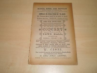 1891 Bootle Town Hall Liverpool Programme Concert For Bootle Police Athlectic So