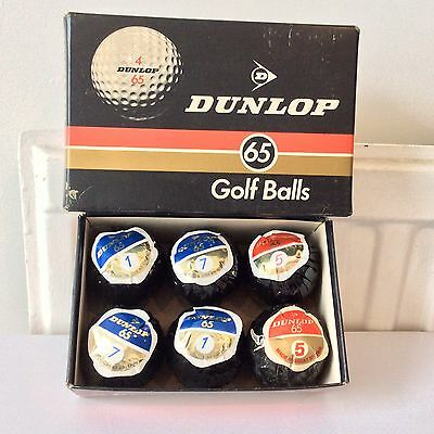 SET OF 6 VINTAGE 1960s/70s DUNLOP 65 GOLF BALLS ORIG BOX/WRAPPING s 1:1:5:5:7:7