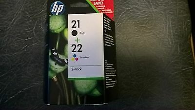 New Genuine Twin Pack Hp 21 Black + Hp 22 Colour Original Ink Jet Cartridges