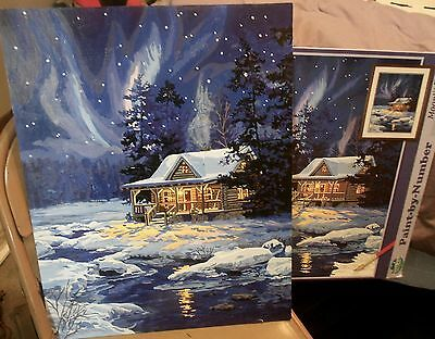 "PAINT WORKS MOONLIT CABIN #91223- COMPLETED PAINT by NUMBER-20"" X 16""-CANVAS"