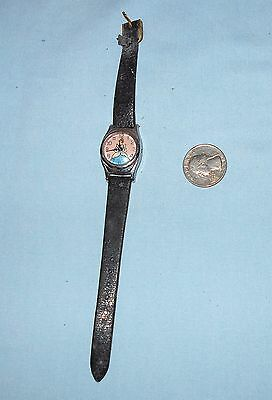VTG WALT DISNEY PRODUCTIONS CHILD'S CINDERELLA WATCH Lizzard Grain Band US TIME