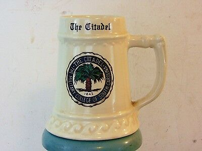 Vtg The Citadel Beer Stein Pottery Military College LG Balfour Attleboro Mass US