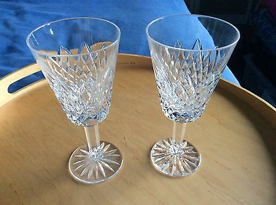 """PAIR Tyrone Crystal WINE GLASSES 6.3"""" Tall- Cut Unknown To Me VGC NO BOX"""