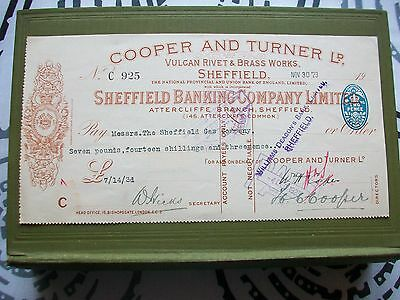 1923 Cheque: Cooper & Turner - Sheffield Gas Co + Sheffield Banking Co.