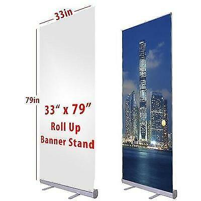 """Flexzion Retractable Banner Stand 33"""" x 79"""" Roll Up Stand Portable for Trade"""