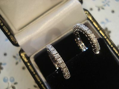 Beautiful & Fine 18CT White Gold: 22 Sparkling Diamonds Set Hoop Design Earrings