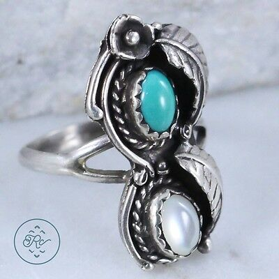 Vintage Sterling Silver | NAVAJO Turquoise MOP Flower | Ring