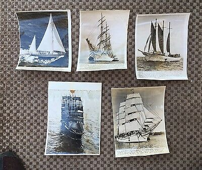 Vintage A.P. Press Wire Photo Lot Of Sailing Ships