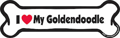 """Dog Magnetic Car Decal - Bone Shaped - I Love My Goldendoodle - Made in USA - 7"""""""