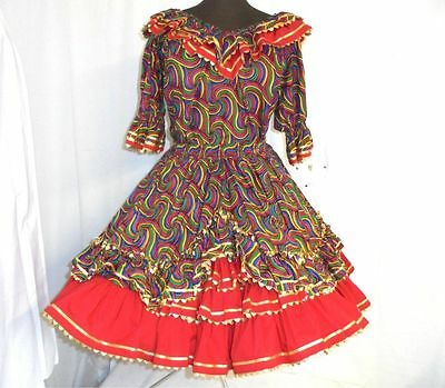 Ladies square dance outfit skirt blouse 2 pc fiesta colors see measurements exc