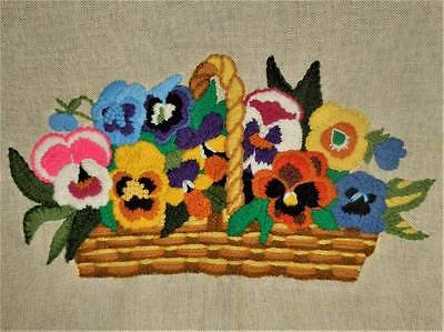 """15"""" Vtg Pansy Basket Floral Flower Finished Completed Wall Art Crewel Embroidery"""