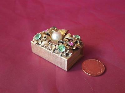 Small Vintage Ornate Match Box Holder. Jewelled Top