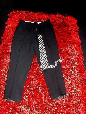 Mens Vintage 40S Trousers Vgc Am Dram Rockabilly 36 Lindyhop Buttons Hi Waist
