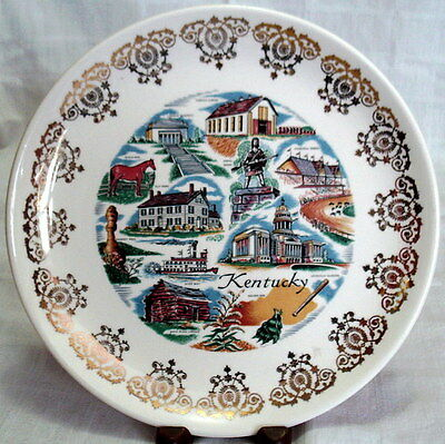 "Vintage KENTUCKY SOUVENIR Gold-Trimmed 9.25"" Plate ILLUSTRATED"