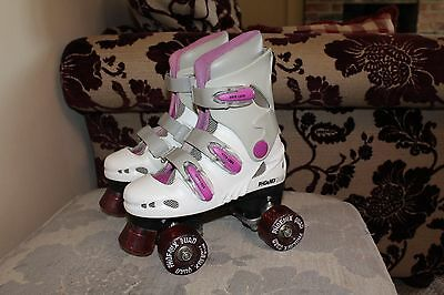 Girls Phoenix Quad White / Pink Roller Skates. Size 12.  Great Condition