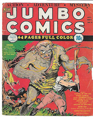 Jumbo Comics #9 G/VG 3.0 (F.Cover Only) CLASSIC LOU FINE Cover, Rare Golden Age