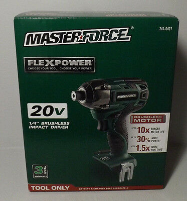 "Masterforce 241-0427 Flexpower 20V 1/4"" Brushless Impact Driver - Tool Only Ob"