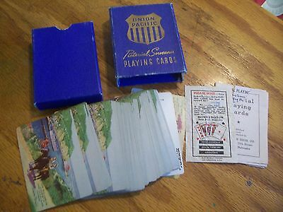 Vintage 1940s Union Pacific Pictoral Souvenir RR railroad Playing Cards in Box