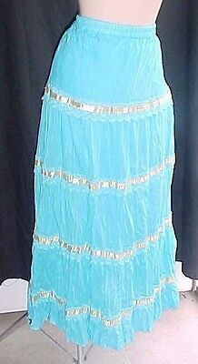 Turqoise & gold  Cotton 4 tier Long Prairie Square Dance Skirt Womens one size