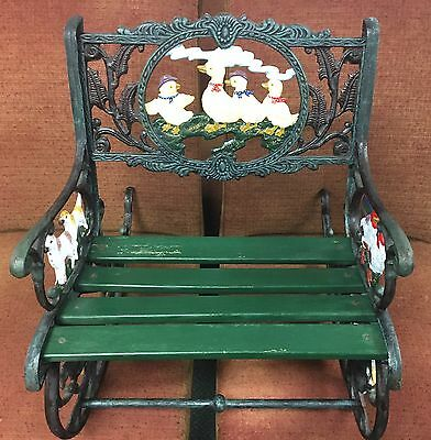 Rare & Antique Childs Wrought Iron Rocking Chair Settee Farm Animals 17x20x19