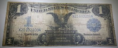 1899 Black Eagle US $1 One Dollar Silver Certificate Antique Paper Note Money