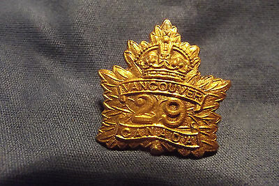 WW I CEF Brass Collar Badge To The 29th Infantry Battalion (Tobins Tigers)