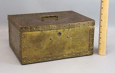 Antique 1912 Patented Motion Alarm Brass Safe Strong Box Safety Jewel Chest NR