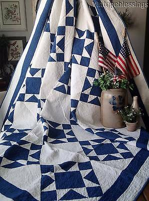 Excellent! ANTIQUE c1880 Indigo Blue & White OHIO Stars QUILT 78x78""