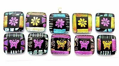 BUTTERFLY colorful Lot 10pcs DICHROIC FUSED GLASS (BA12) scrapbook CAB MOSAIC